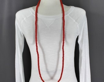 "Red super extra long beaded necklace 44"" long double wrap strand"