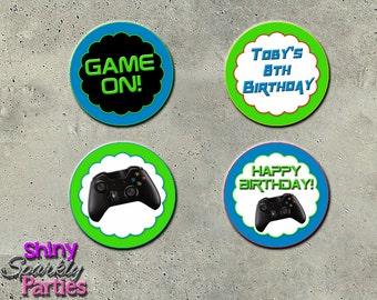 Printable GAMING CUPCAKE TOPPERS - Video Game Cupcake Toppers - Gaming Birthday Party Circles - Gaming Birthday Cupcake Toppers