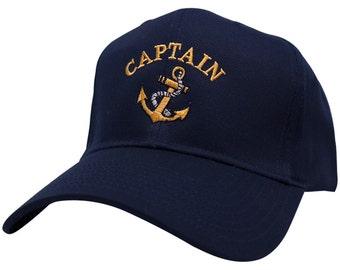 Captain Anchor Logo Embroidered Plain Baseball Cap - 3 Colors