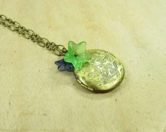 Medallion necklace Flower necklace brass bronze medallion floral art nouveau, glass flowers flowers flowers green blue spring vintage style