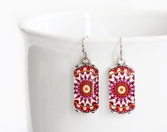 Red Kaleidoscope Mandala - Retangle Glass Dangle Earrings