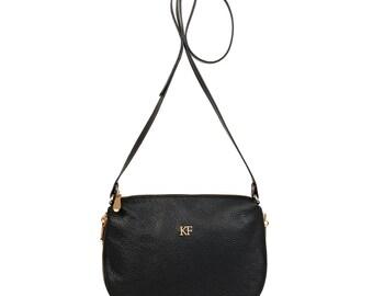 Leather Cross body Bag, Black Leather Shoulder Bag, Women's Leather Crossbody Bag, Leather bag KF-523