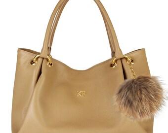 Leather Hobo Bag, Dark beige Leather Hobo Bag, Leather Hobo Handbag