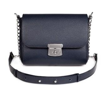Leather Cross body Bag, Dark blue Leather Shoulder Bag, Women's Leather Crossbody Bag, Leather bag KF-379