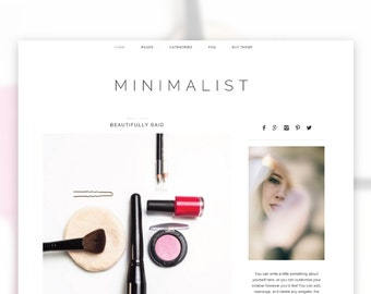 Minimalist  — RESPONSIVE Wordpress Theme — Self-hosted Wordpress Blog Theme — Feminine Website