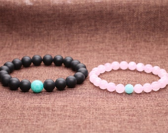 "Long Distance Relationship""Always Same Blue Sky"" Matte Onyx and Rose Quartz His and Hers Couple Bracelet (2pcs)"