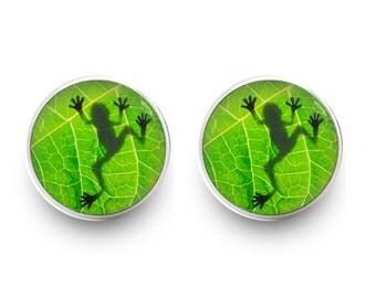 Frog Earrings Green Leaf Stud Earrings Green Earrings Jewelry (with jewelry box)