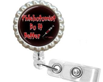 Retractable Id Badge Holder -  Badge Id Reel - Badge Reel - Id Holder Badge Reel - Phlebotomists Do It Better Needle Blood  (2867.1)