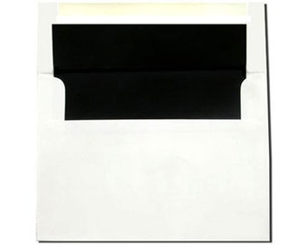 20 White with Black Lined Envelopes - A7 and A2 Sizes