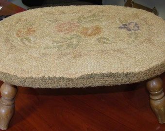 Very old Vintage footstool/Shabby Chic/Farmhouse/Prairie