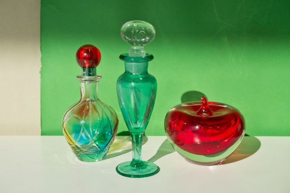 Vintage Art Glass Decanter Paperweight and Perfume Set