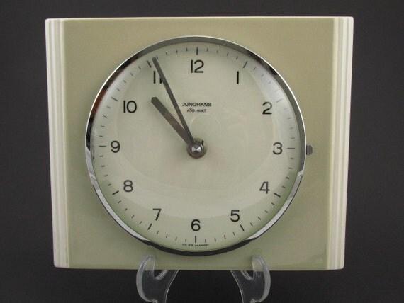 Art deco wall clock ceramic kitchen Diehl Germany Quarz mid