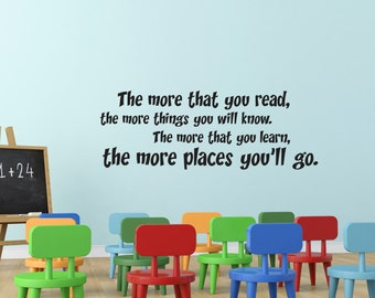 Vinyl Wall Decal, Dr Seuss Wall Decal, nursery Wall Decal, kids Wall Decal, oh the places, The more that you read, the more places you'll go