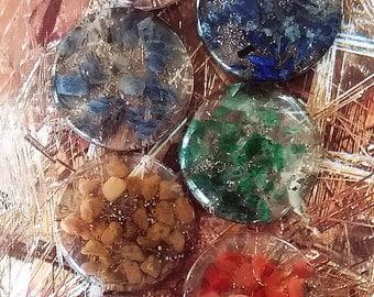 7 Piece ORGONE Chakra Crystal DISC SET with Pouch, Sacred Geometry, Reiki Set,Lapis Lazuli, Amethyst, Carnelian, Aventurine