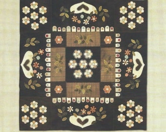A French Country Touch wool & velvet appliquéd wall hanging quilt pattern by Marie-Claud Picon-Iperti for Blackberry Primitives (2014) K0724