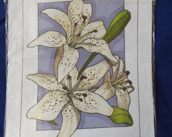 Printed Aida cotton canvas for cross stitch - Lilies (#319)