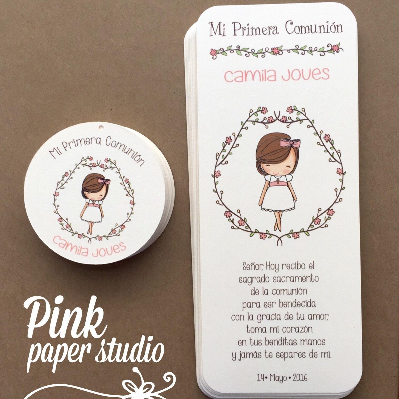 Primera comuni n favor tarjetas marcap ginas comuni n ni a - Como hacer tarjetas de comunion ...
