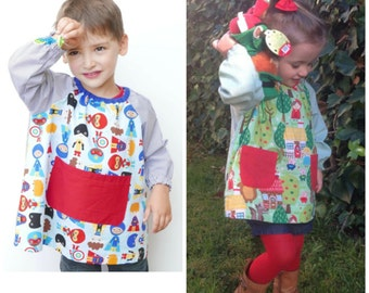 Baby School smock PDF Pattern 6m - 6 yrs:  school outfit, paint smock, kids apron, art smocks, school uniform, party smock, birthday smock