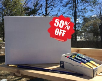 50% Off SALE Hand Made Cotton Canvas Deep Gallery Stretcher, Canvas Duck, Gesso Primed, Pine Stretcher Bar, Art Canvas for Painting, Acrylic