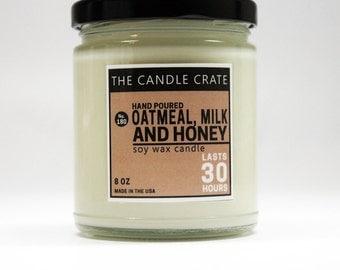 Oatmeal Milk and Honey Soy Wax Scented Candle 8 Ounces