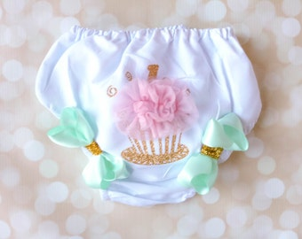 Birthday Diaper Cover - Cupcake Bloomers -Bow and Tulle Bloomers - Gold and Pink First Birthday