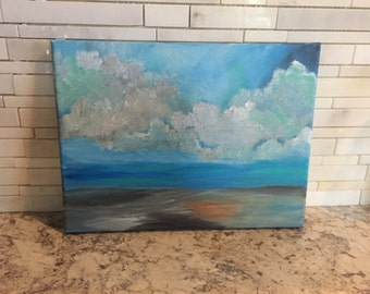 "Cloudy skies. Original acrylic painting. 12""x9"""
