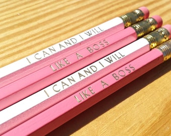 Like a Boss & I can and I will  | Cute Inspirational Pencils | Gifts for her |  Motivational  | White + Coral- Pink Pencils | USA Made