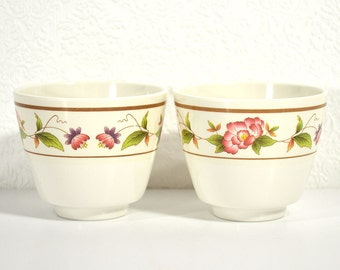Floral Teacups- Pair of Melamine Tea Cups or Sake Cups with Pink Flower Design