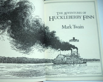 1st Huckleberry Finn Book Mark Twain Red Gilt Hardcover HC 1981 Octopus Illustrated Engravings American Classic children gift