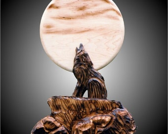Howling Wolf Carving Wall Sculpture-hand carved in hard rock Maple and Alder woods