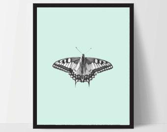 Butterfly with Aqua, Printable, Wall Art, Artwork, Home Decor, Modern Print, Print Art, Abstract Art, Color, Decorations, Digital Print