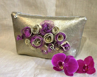 Leather bag-gold-platinum-Little Bag by LoraLeahter-Bag with flowers-evening bag-Leather-Gift for her-leather flowers-Leather Handbag-Clutch
