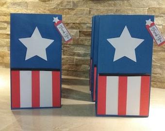 Captain America  Goody  Bags set of 12 / Favor Bags