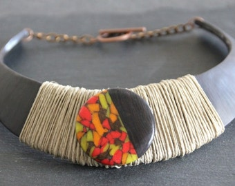 ethnic necklace / breastplate, polymer and linen