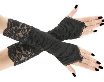 Black arm warmers, fingerless gloves, evening gloves, formal gloves, gloves women, black gloves, goth victorian vampire lace gloves  0150