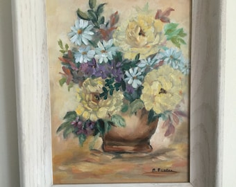 Sweet framed 1960s original oil painting- Old Florida still life of daisies, mums and violets in a vase signed by artist B Foster!