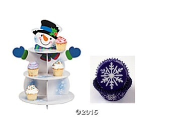 Snowman Cupcake Stand with 24 Snowflake Baking Cups
