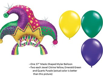 Mardi Gras Mask Balloon Set