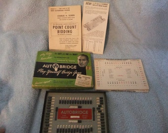 AUTOBRIDGE Play-Yourself Bridge Games Deluxe Pocket Model Vintage 1950