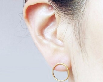 Open Circle / Round / Studs / Earrings / Silver / Gold / Hipster / Trendy / Everyday / Simple / Dainty / Minimalist / Petite
