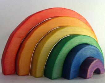 Wooden Rainbow Element Nesting Stacker // Wooden Eco Friendly Handmade Toy // Montessori Stacking Game // Waldorf Puzzle // Nursery Decor