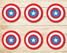 Captain America Sticker // Captain America Cupcake Topper // Captain America Party Favors // Captain America Party // Superhero Party 2 Inch