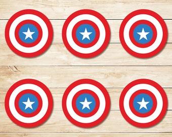 Captain America Sticker // Captain America Cupcake Topper // Captain America Party Favors // Captain America Party // Superhero Party 2 Inch