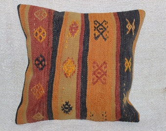 Turkish Kilim pillow,Decorative Pillow,Home Decor Turkish pillow,Area Pillow,Vintage Kilim Pillow,Boho pillow,16 x16 inch,40 x 40 cm