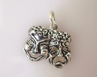Sterling Silver COMEDY/TRAGEDY MASKS Charm Pendant Carnival Masquerade Mardi Gras New Orleans Theater .925 Sterling Silver New du05