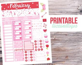Printable Planner Stickers Monthly Spread Kit Month February   Feb Valentine's Day View To Do Bills Weird Holidays Glam PlanFor Erin Condren