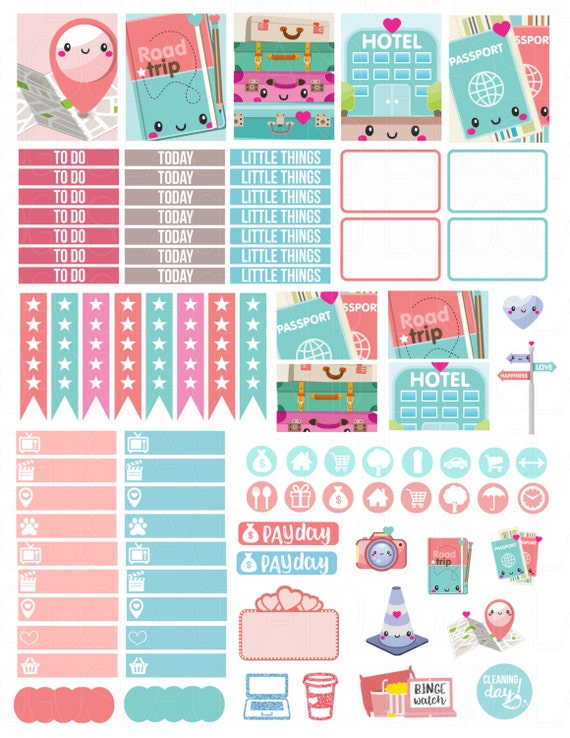 Blank Calendar Kit : Printable planner stickers kawaii road trip weekly kit for