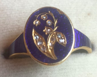 1890s Blue Enamel Forget Me Not Ring with Rosecut Diamonds 18k Gold