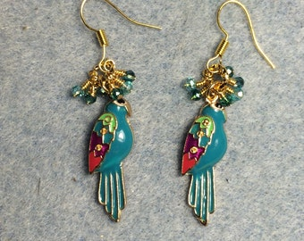 Turquoise enamel parrot charm earrings adorned with tiny dangling turquoise Chinese crystal beads.