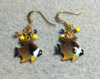 Blue, brown and yellow enamel fish charm earrings adorned with tiny blue, yellow and brown Chinese crystal beads.
